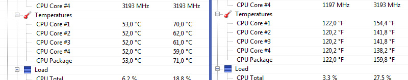 Processor temperatures on Open Hardware Monitor